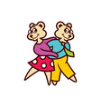 two bears dancing vector image