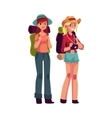 Two pretty girls travelling hitchhiking with vector image vector image
