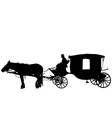 Vintage carriage with coachman vector image