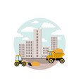 white background with circular scene city vector image vector image