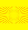 yellow sunbeams sun ray background pop art vector image