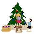 Children decorate Christmas tree vector image