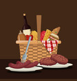 color scene of picnic basket with foods and vector image