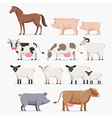Animal farm set The horse pig cow goat and sheep vector image
