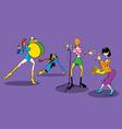Cartoon female music group vector image