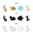 an unrealistic cartoonblackoutline animal icons vector image