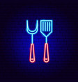 barbecue fork spatula neon sign vector image