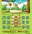bee in nature game template vector image vector image