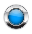 blue round button glass 3d shiny icon with wide vector image vector image