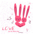 bunny in love enamored funny rabbits on a date vector image