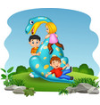 cartoon little kid playing on the dinosaur vector image vector image