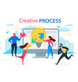 cartoon people join jigsaw puzzle creative process vector image
