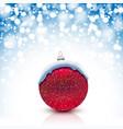 christmas ball with snow cap on snowfall vector image