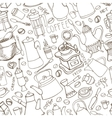 Coffee related doodle seamless patternTableware vector image vector image