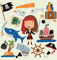 cute beauty pirate girl and various objects vector image vector image