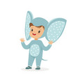 cute happy boy dressed as an elephant kids vector image vector image