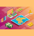 delhi india city isometric financial economy vector image vector image