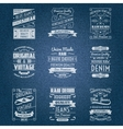 Denim jeans white typography labels vector image