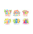 family labels original design labels collection vector image vector image