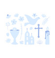 first holy communion set icon christianity vector image vector image
