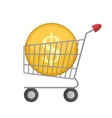 Flat Supermarket Cart Icon with Golden Coin Money vector image vector image