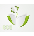 flower and green leaves of paper vector image vector image