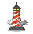 gamer lighthouse on the beach mascot vector image