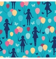 Girls holding balloons seamless pattern background vector image