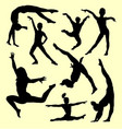 gymnastic people sport activity silhouette vector image vector image