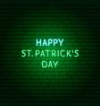 happy st patricks day neon text vector image