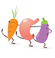 happy stomach dancing with vegetables vector image vector image