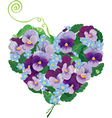 Heart shape is made of beautiful flowers - pansy vector image vector image