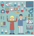 icons and characters on the medical theme vector image vector image