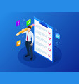 isometric businessman with checklist and to do vector image