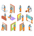isometric construction workers builder doing vector image