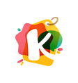 k letter logo with sale tag icon watercolor vector image vector image