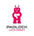 love robot logo vector image vector image