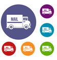 mail truck icons set vector image vector image
