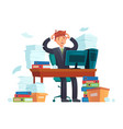 manager overworked office overwork unorganized vector image vector image