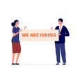 office job business people holding banner we vector image vector image