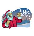 santa claus greeting merry christmas vector image vector image