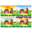 scene with barn and windmill at day and night vector image vector image