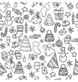 seamless pattern doodle christmas vector image vector image