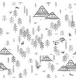 seamless pattern with forest mountains and camping vector image vector image