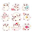 set of cute pandas in kawaii style vector image