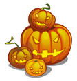 set of ripe pumpkin with carved eyes and mouth vector image