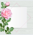 sweet roses with frame on wooden table top vector image vector image