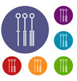 tattoo needles icons set vector image vector image