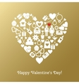 Valentines Day greeting card on gold background vector image vector image