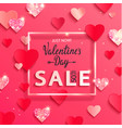 valentines day sale banner with paper shiny vector image vector image